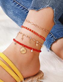 Fashion Gold Alloy Diamond Diamond Star Bead Shell 4 Layer Anklet