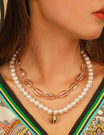 Fashion Gold Alloy Shell Pearl Multi-layer Necklace
