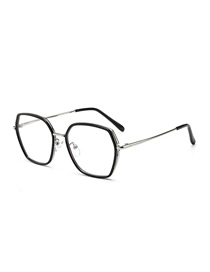 Fashion Black Silver Frame Large Frame Square Anti-blue Flat Mirror