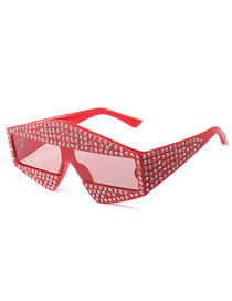 Fashion Red Film Triangle With Diamond Sunglasses