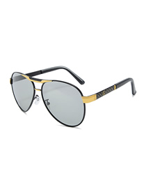 Fashion Black Gold Frame Color Film Double Beam Stitching Temple Sunglasses