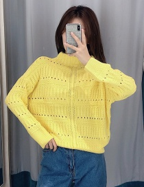 Fashion Yellow Mesh Twist Sweater