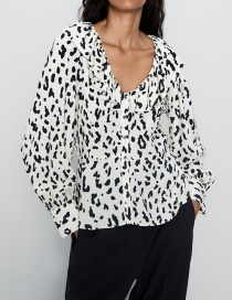 Fashion Creamy-white Animal Print Shirt
