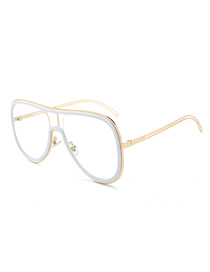 Fashion White Circle White Screen Hollow One-piece Sunglasses