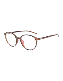 Fashion Dark Brown Frame Round Flat Mirror