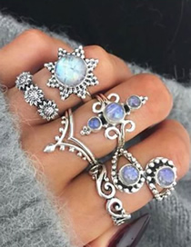 Fashion Silver Sunflower Inlaid Opal Ring Set Of 6