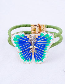 Fashion Blue Drop Glaze Crystal With Diamond Double-layer Wool Butterfly Bracelet