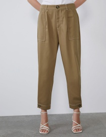 Fashion Khaki Line Foot Button Pants