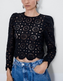 Fashion Black Sleeve Texture Top