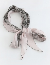 Fashion Pink Contrast Color Pattern Printed Chiffon Scarf
