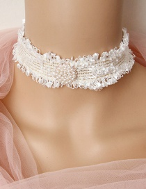 Fashion White Lace Pearl Necklace