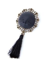 Fashion Black Head Tassel Brooch