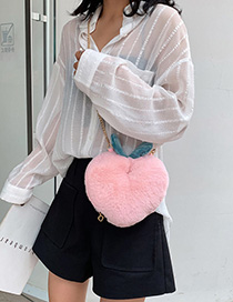Fashion Pink Plush Contrast Chain Single Back Messenger Bag