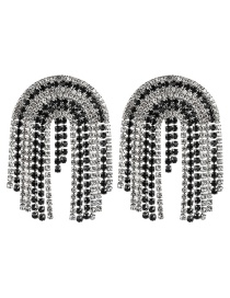 Fashion Black And White Multi-layer Arched Diamond Earrings