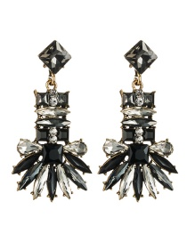 Fashion Black Multi-layer Geometric Diamond Earrings
