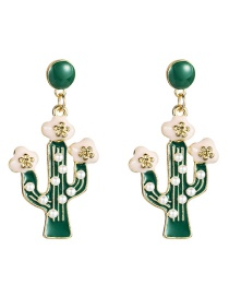 Fashion Green Alloy Drop Oil Cactus With Pearl Earrings