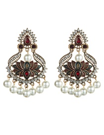 Fashion Red Alloy Geometric Diamond Drop Oil Flower Multi-layer Pearl Earrings