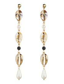 Fashion Shell Multi-layer Shell Alloy Imitation Pearl Earrings