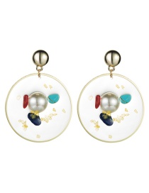 Fashion Gold Alloy Round Resin With Pearl Turquoise Earrings