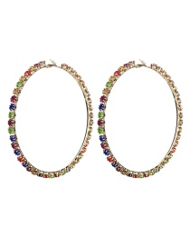 Fashion No.9 Large Circle Outer Ring With Diamond Earrings