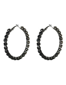 Fashion Number 5 Large Circle Outer Ring With Diamond Earrings
