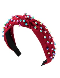 Fashion Red Cloth Knotted Pearl Headband