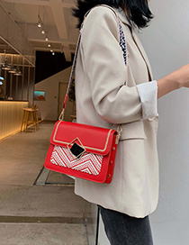 Red Woven Contrast Wide Shoulder Strap Single Back Messenger Bag