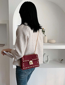 Red Wine Chain Rivet Lock Single Back Messenger Bag