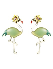 Fashion Green S925 Silver Needle Alloy Dripping Red Crowned Crane Small Flower Earrings
