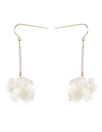 Fashion White Multi-layer Resin Flower Pearl Earrings