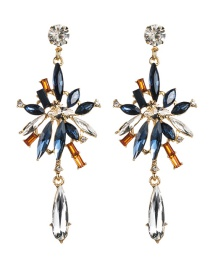 Fashion Blue And White Multi-layer Acrylic Diamond Flower Earrings