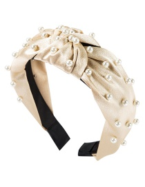 Fashion Cream Color Cloth Knotted Pearl Headband