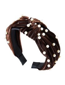 Fashion Dark Brown Horizontal Striped Gold Velvet Wide-brimmed Knotted Pearl Headband