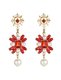 Fashion Red Multi-layer Alloy Diamond-studded Pearl Earrings