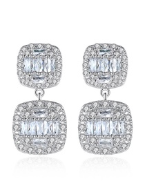 Fashion Platinum-t04e21 Square Copper Inlay Zircon Earrings