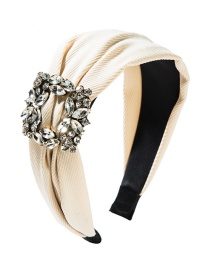 Fashion White Wide-brimmed Square Alloy Diamond Headband
