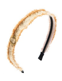 Fashion Brown Cotton Rope Woven Raw Edge Ring Alloy Headband