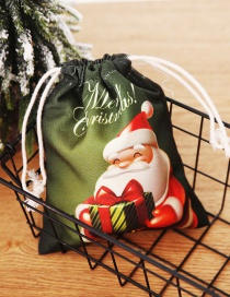Fashion Green Gift Bag For The Elderly Printed Pattern Christmas Candy Bag