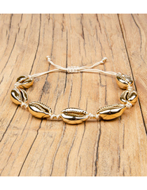 Fashion Gold Rice Beads Woven Natural Shell Bracelet