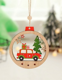 Fashion Gift Car Christmas Tree Wooden Round Pendant