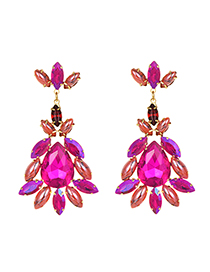 Fashion Rose Red Alloy Diamond Drop Earrings