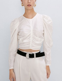 Fashion White Pleated Jacquard Top