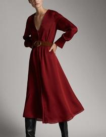 Fashion Red Wine Belt Dress