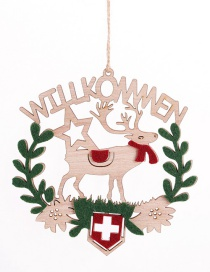 Fashion Elk Garland Wooden Pendant Wooden Openwork Letters Christmas Pendant