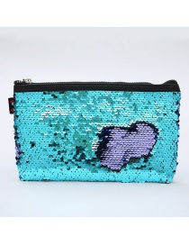 Fashion Sky Blue + Purple Sequined Square Mermaid Cosmetic Bag