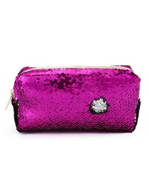 Fashion Rose Red + Silver Hand Zipper Mermaid Sequin Pencil Case