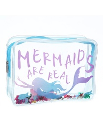 Fashion Light Blue Mermaid Pvc Transparent Cartoon Glitter Sequin Cosmetic Bag