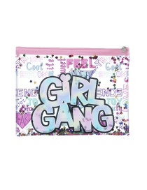 Fashion Girl Cartoon Pvc Glitter Powder Sequin Pencil Case