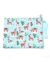 Fashion Sky Blue Cartoon Print File Bag