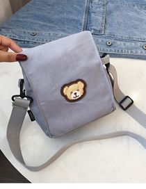 Fashion Gray Canvas Bear Messenger Bag